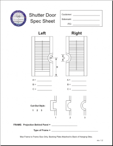 Advanced Custom Shutters, Inc. shutter door specification sheet