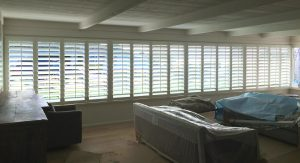 16 plantation shutters inslatted as part of a family room remodel